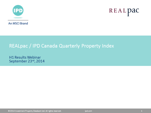REALpac/IPD Canada Quarterly Property Index