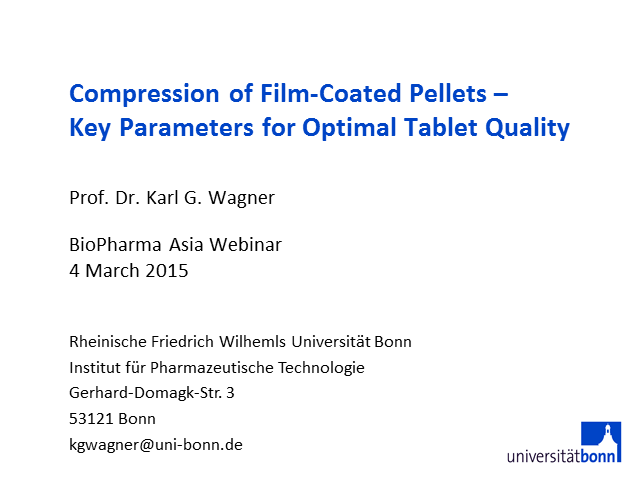 Compression of film-coated pellets - key parameters for optimal tablet quality