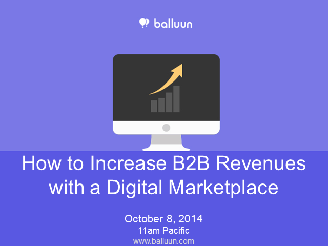 Increase B2B Revenues with a Digital Marketplace
