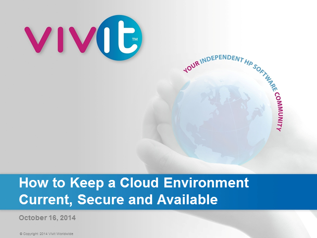 How to Keep a Cloud Environment Current, Secure and Available