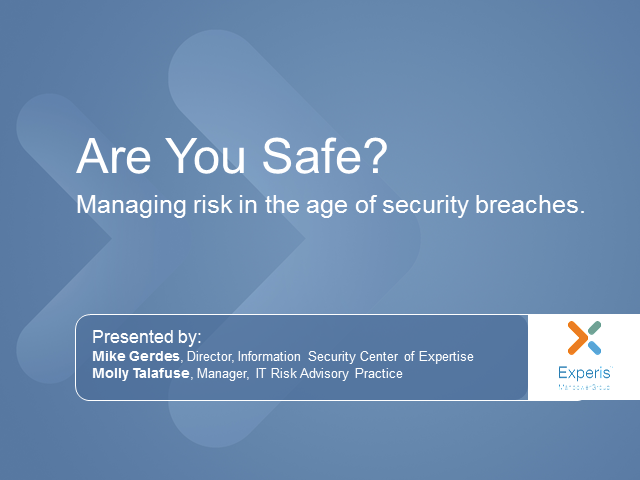 Are you safe? Managing risk in the age of security breaches.