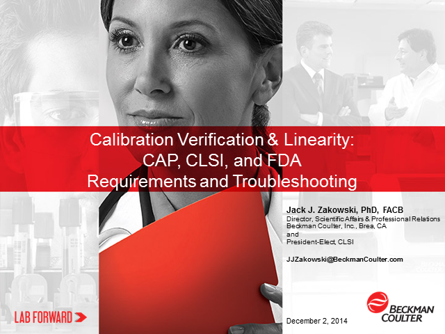 Calibration Verification & Linearity: CAP, CLSI, and FDA Requirements
