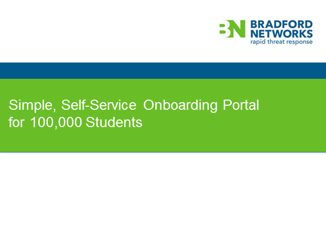 Simple, Self-Service Onboarding Portal for 100,000 Students