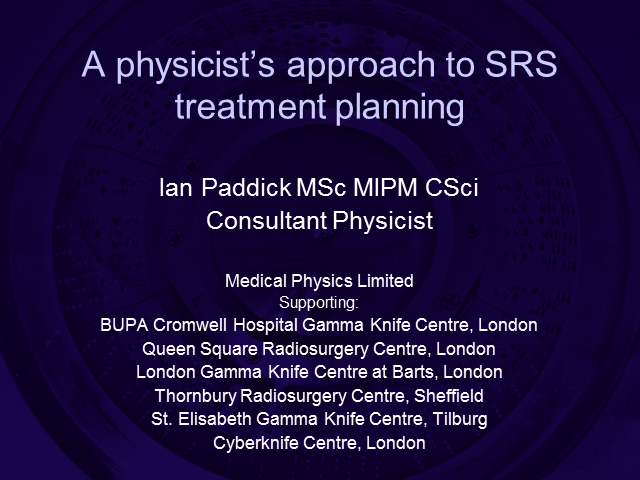 A physicist's approach to SRS treatment planning