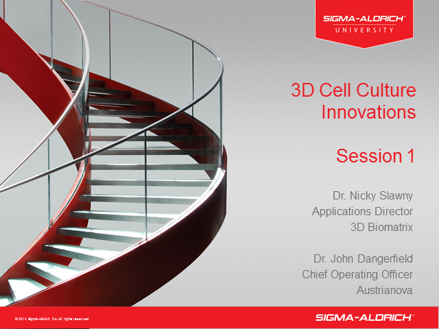 3D Cell Culture Innovations Session 1