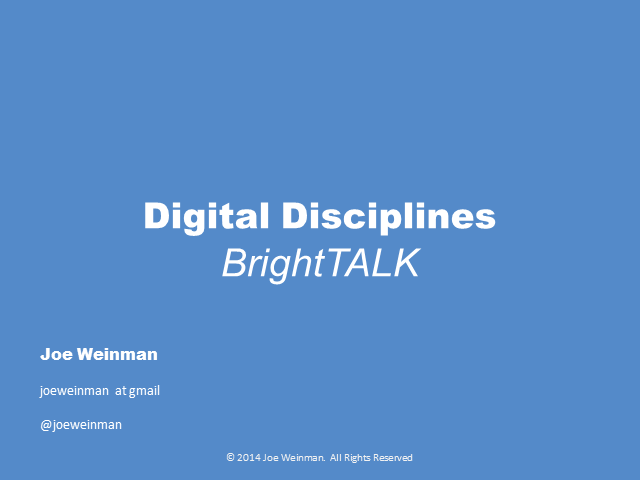 Digital Disciplines: Developing Strategic Advantage via the Cloud