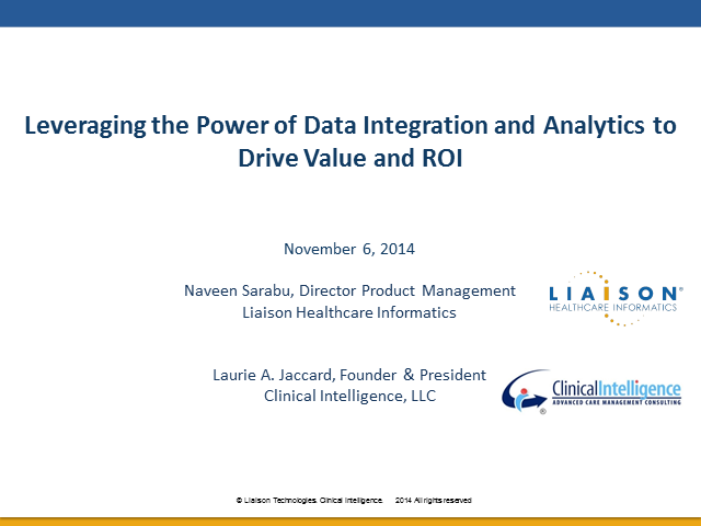 Leveraging the Power of Integration and Analytics to Drive Value and ROI