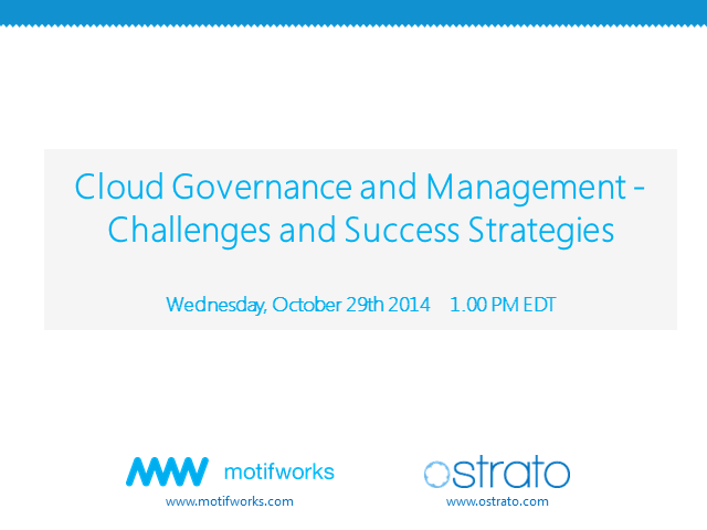 Cloud Governance and Management -  Challenges and Success Strategies