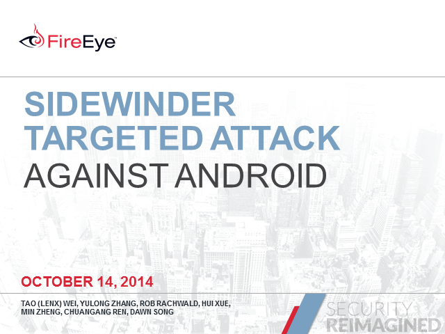 Sidewinder Targeted Attack Against Android