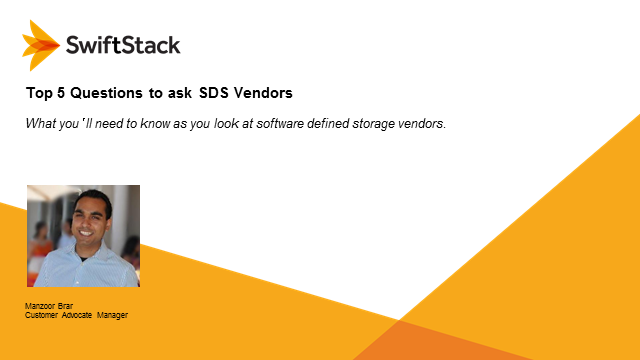 Top Five Questions to Ask SDS Vendors