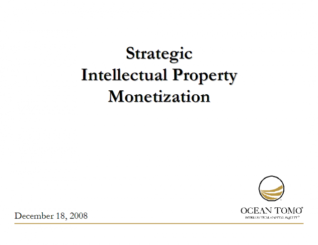 Strategic Intellectual Property Monetization
