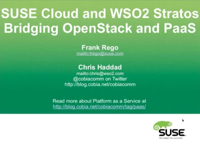 SUSE Cloud and WSO2 Stratos Bridging OpenStack and PaaS
