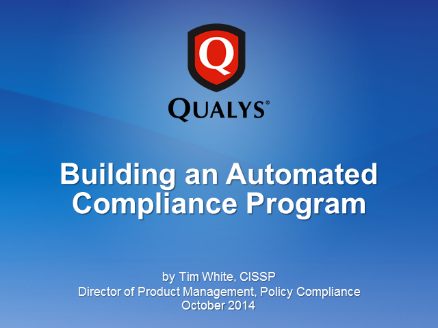 Building an Automated Compliance Program