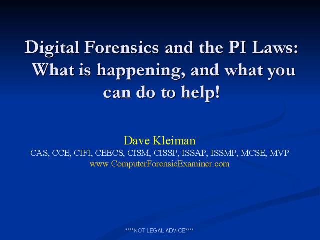 Digital Forensics Private Investigation Laws