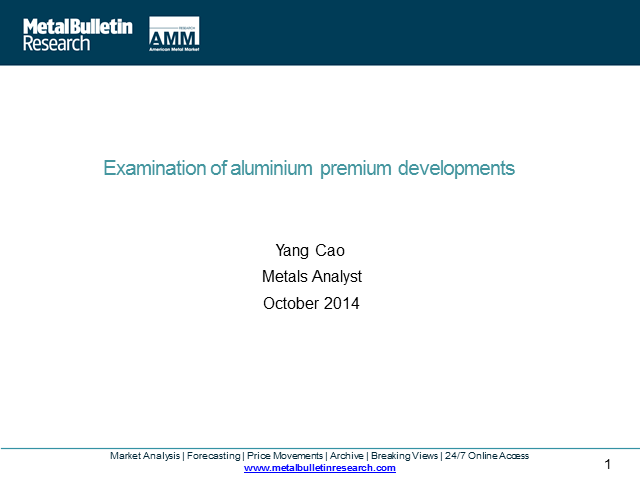Examination of aluminium premium developments