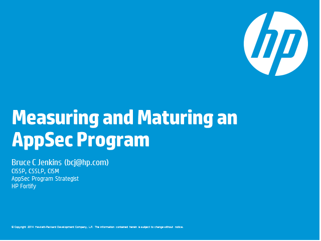 Measuring and Maturing an AppSec program