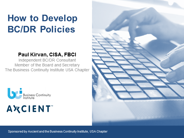 How to develop BC/DR Policies