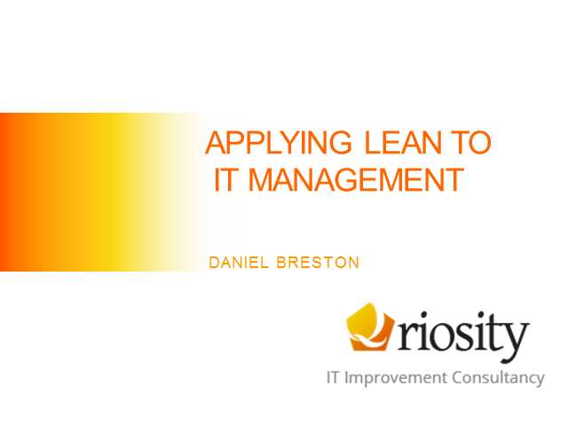 Applying Lean Thinking to ITSM