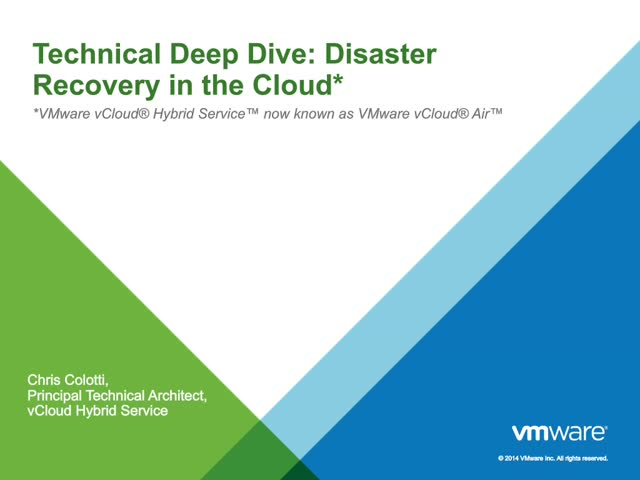 Technical Deep Dive: Disaster Recovery in the Cloud