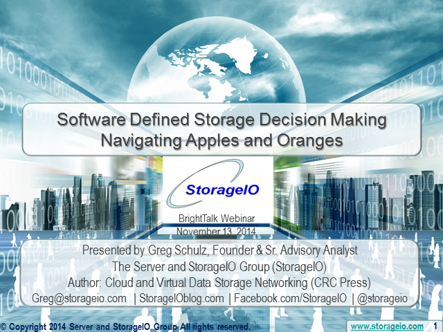 Software Defined Storage Decision Making - Navigating Apples and Oranges