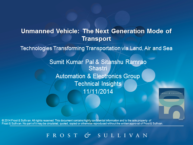 Unmanned Vehicle Technologies: Next Generation Transportation on Land, in Air...