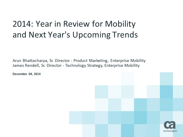 2014 Year in Review for Mobility and Next Year's Upcoming Trends