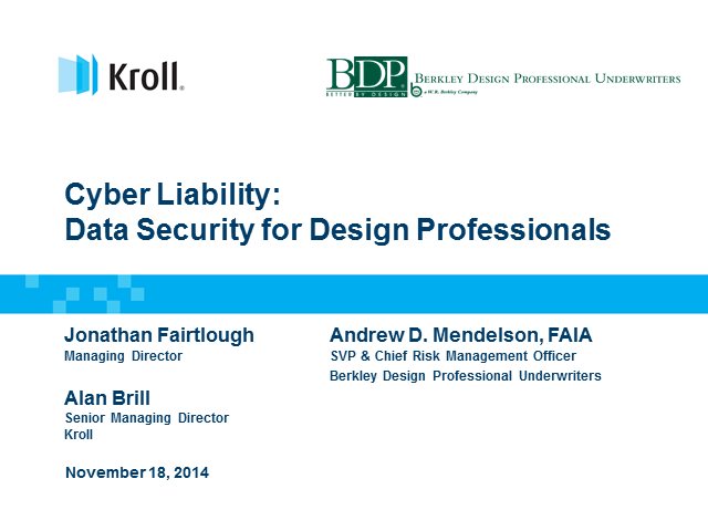 Cyber Liability: Data Security for Design Professionals