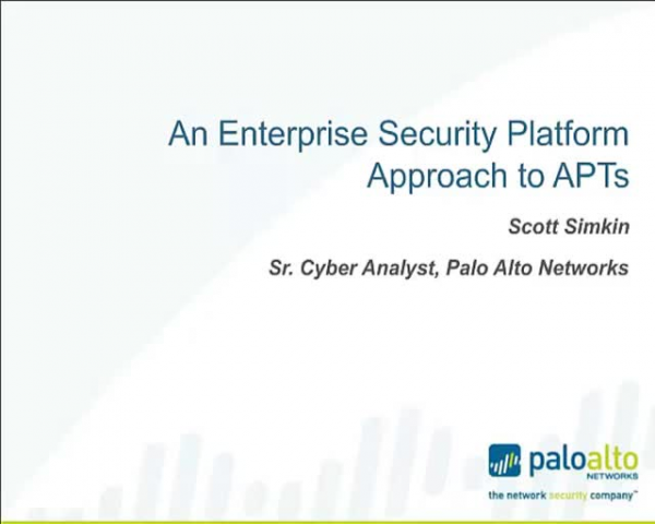 An Enterprise Security Platform Approach to APT's