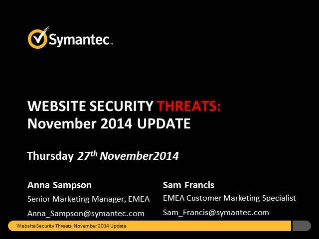 Symantec Monthly Threat Webinar - November update