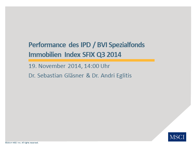 IPD-Webinar zum Thema: Performance des Immobilien-Spezialfonds Index SFIX Q3