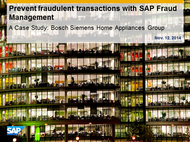 Preventing fraudulent transactions with SAP Fraud Management powered by HANA