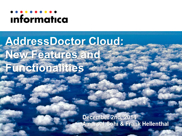AddressDoctor Cloud: New Features and Functionalities