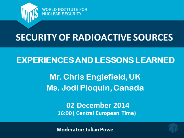Security of Radioactive Sources: Experiences and Lessons Learned