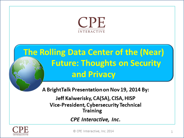 The Rolling Data Center of the (Near) Future: Thoughts on Security and Privacy