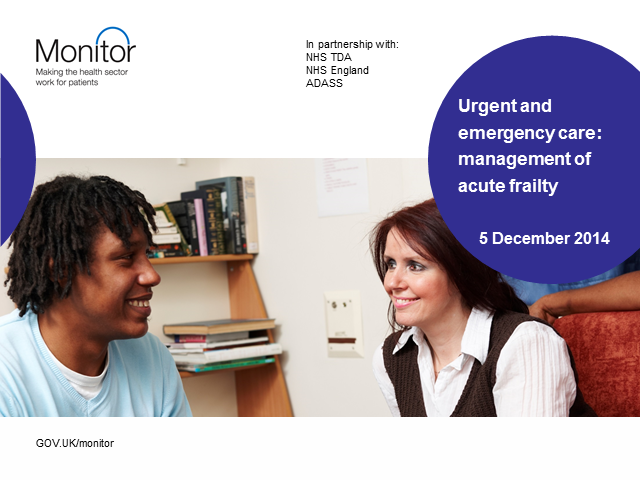 Urgent and emergency care: management of acute frailty
