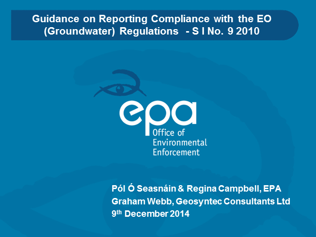 Guideline template for reporting compliance with the EO (Groundwater) Regs 2010