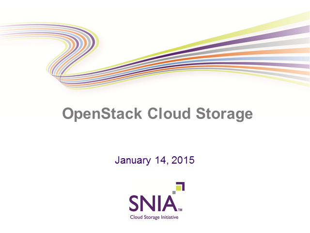 LIVE WEBCAST: OpenStack Cloud Storage