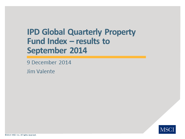 IPD Global Quarterly Property Fund Index – Q3 2014 results