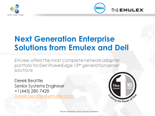 Emulex empowers Dell PowerEdge 13th generation server solutions