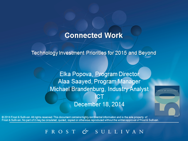 Connected Work: Technologies Investment Priorities in 2015 and Beyond
