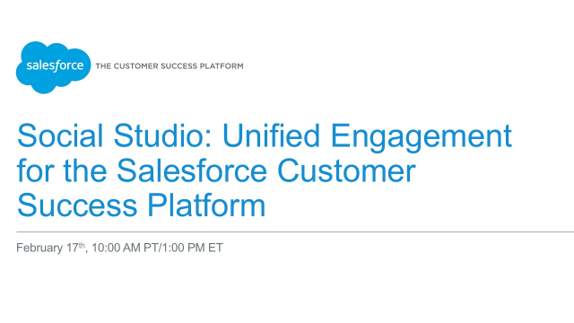 Social Studio: Unified Engagement for the Salesforce Customer Success Platform