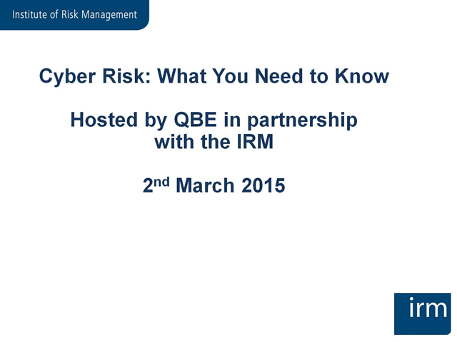 Cyber Risk - What you need to know