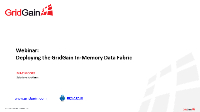 Deploy the In-Memory Data Fabric