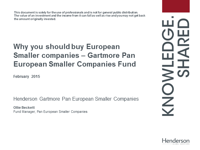 Why you should buy European Smaller companies