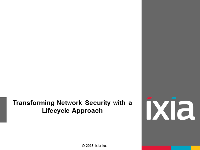 WEBINAR: Transforming Network Security with a Life-Cycle Approach