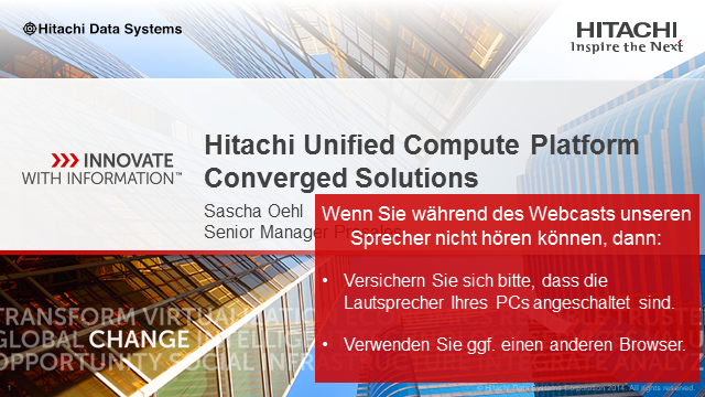 Hitachi UCP - Converged Systems - für Business Applikationen optimierte IT