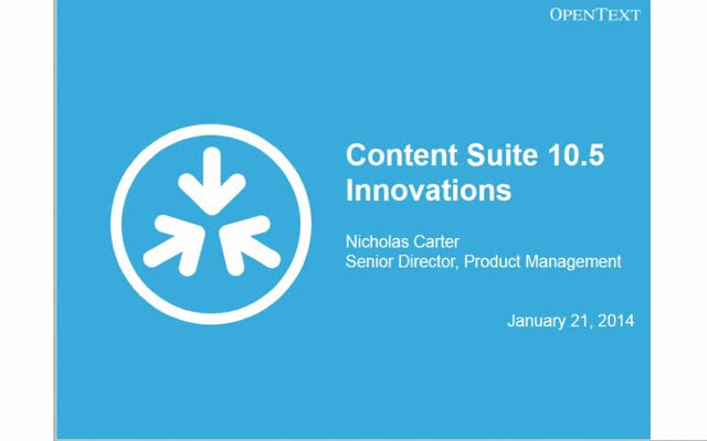Content Suite 10.5 Innovations Webinar