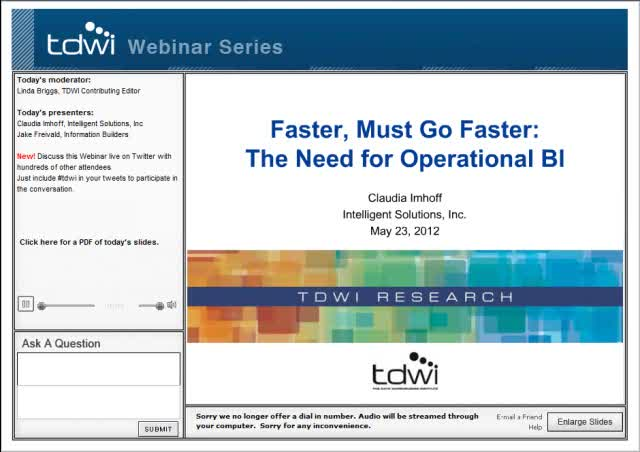 Faster, Must Go Faster: The Need for Operational BI