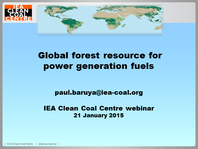 Global forest resource for power generation fuels