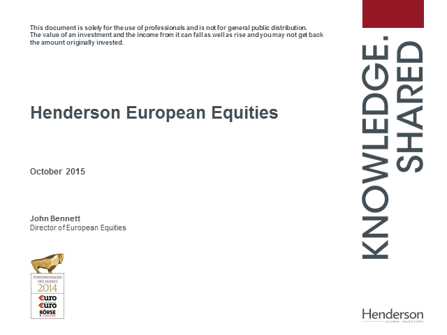 Henderson Gartmore Continental European & Pan European Funds Quarterly Update